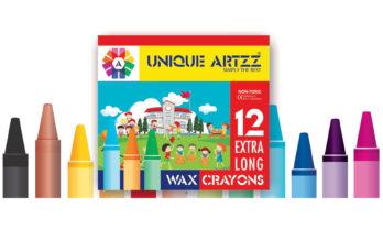 12 Wax Crayons Extra long